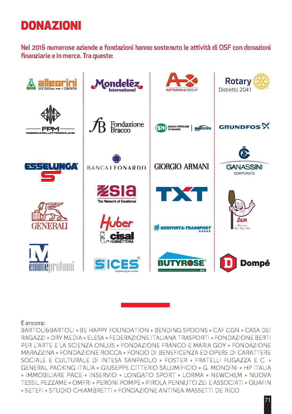 osf aziende sostenitrici