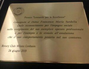 """Al Dottor Sardella è stato conferito il premio """"Leonardo per le eccellenze"""""""